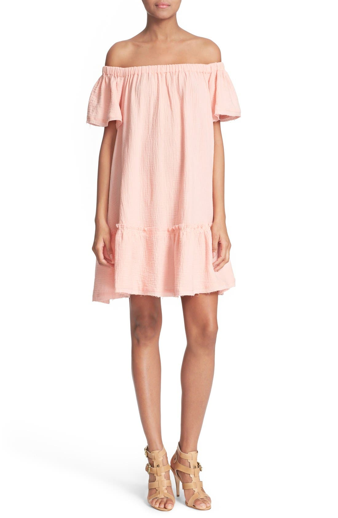 Main Image - Rebecca Taylor Off the Shoulder Cotton Swing Dress
