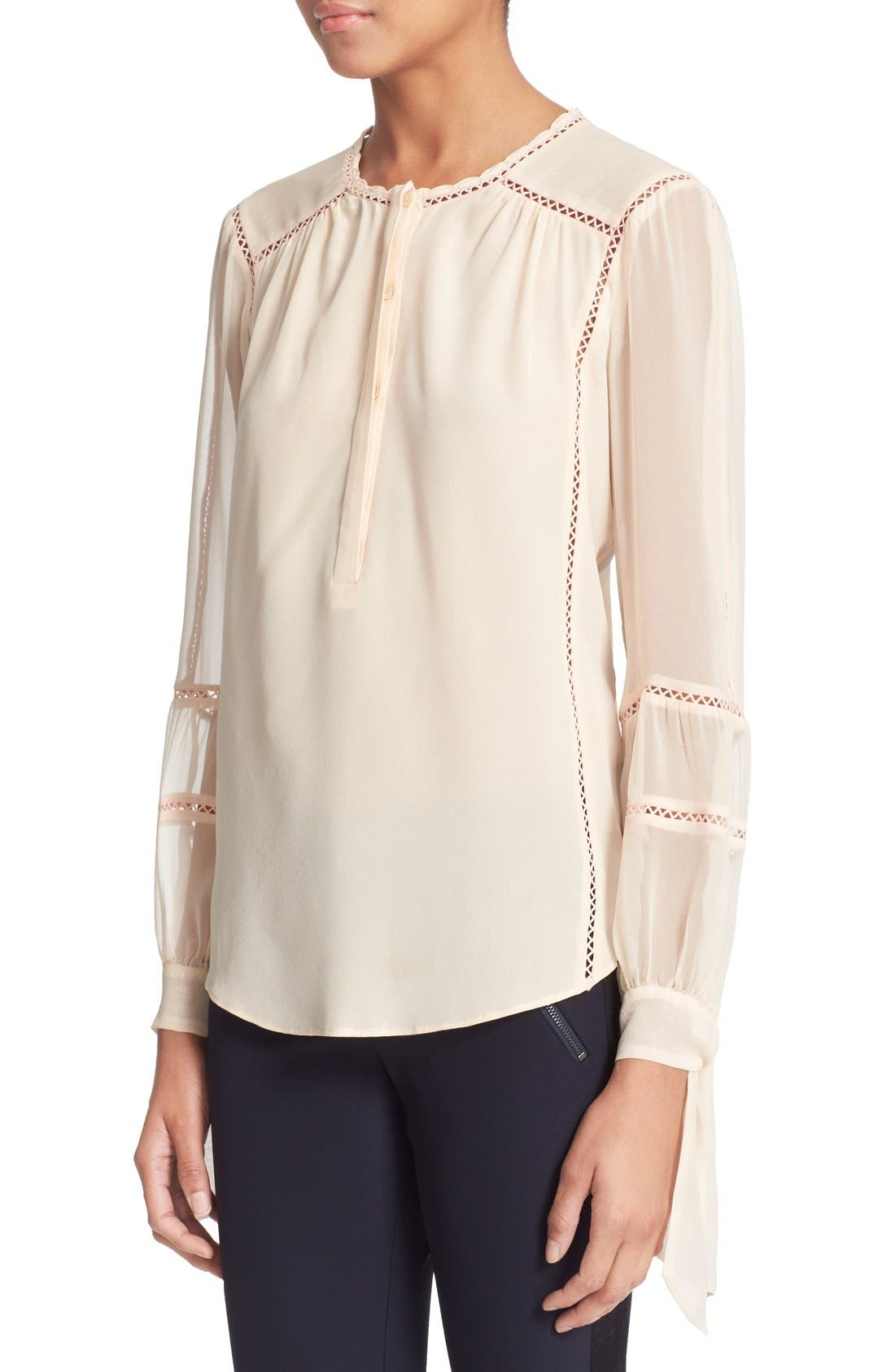 Alternate Image 4  - Rebecca Taylor Long Sleeve Silk Blouse