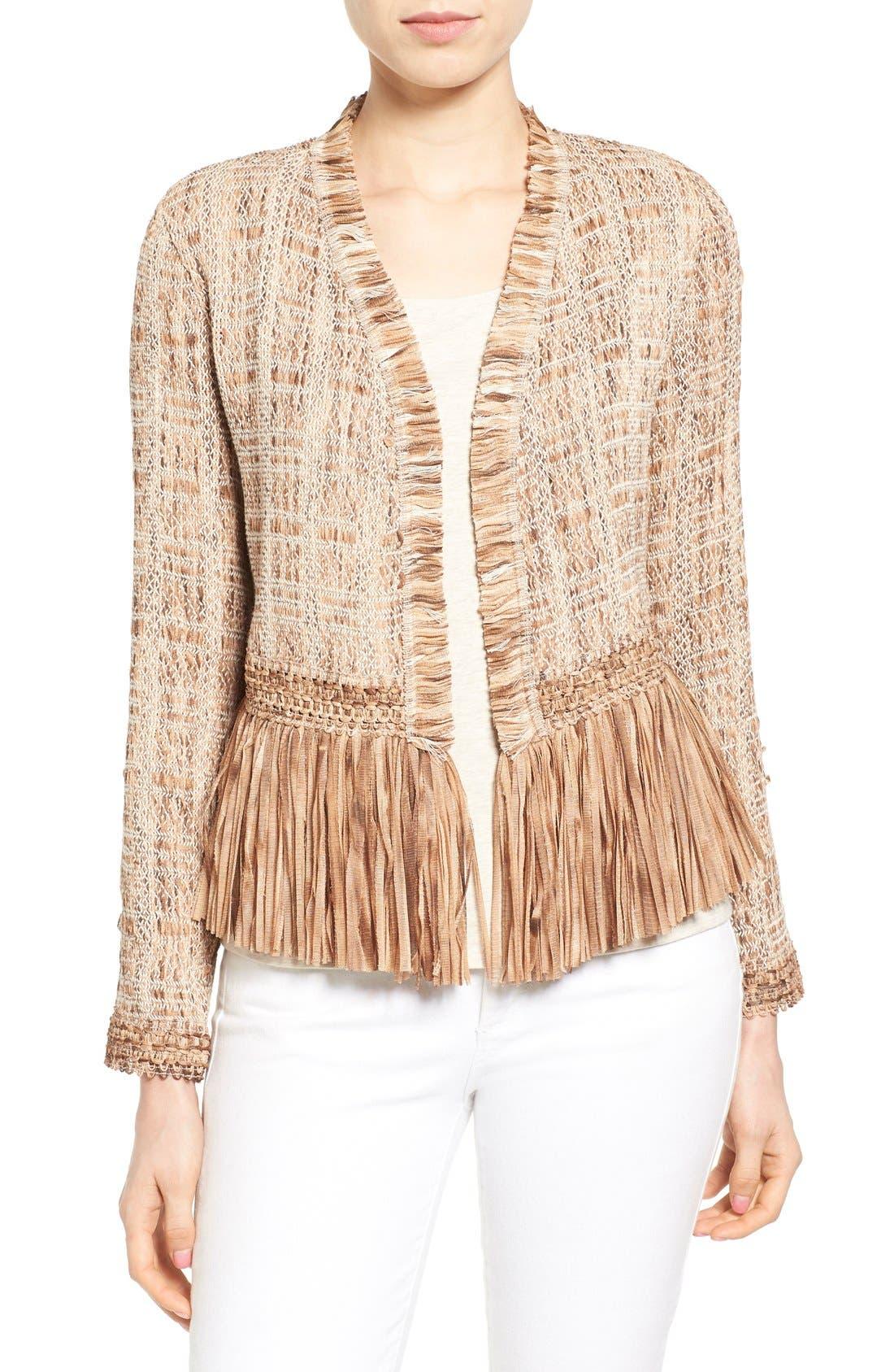 Alternate Image 1 Selected - NIC+ZOE 'Cork' Fringe Tweed Jacket (Regular & Petite)