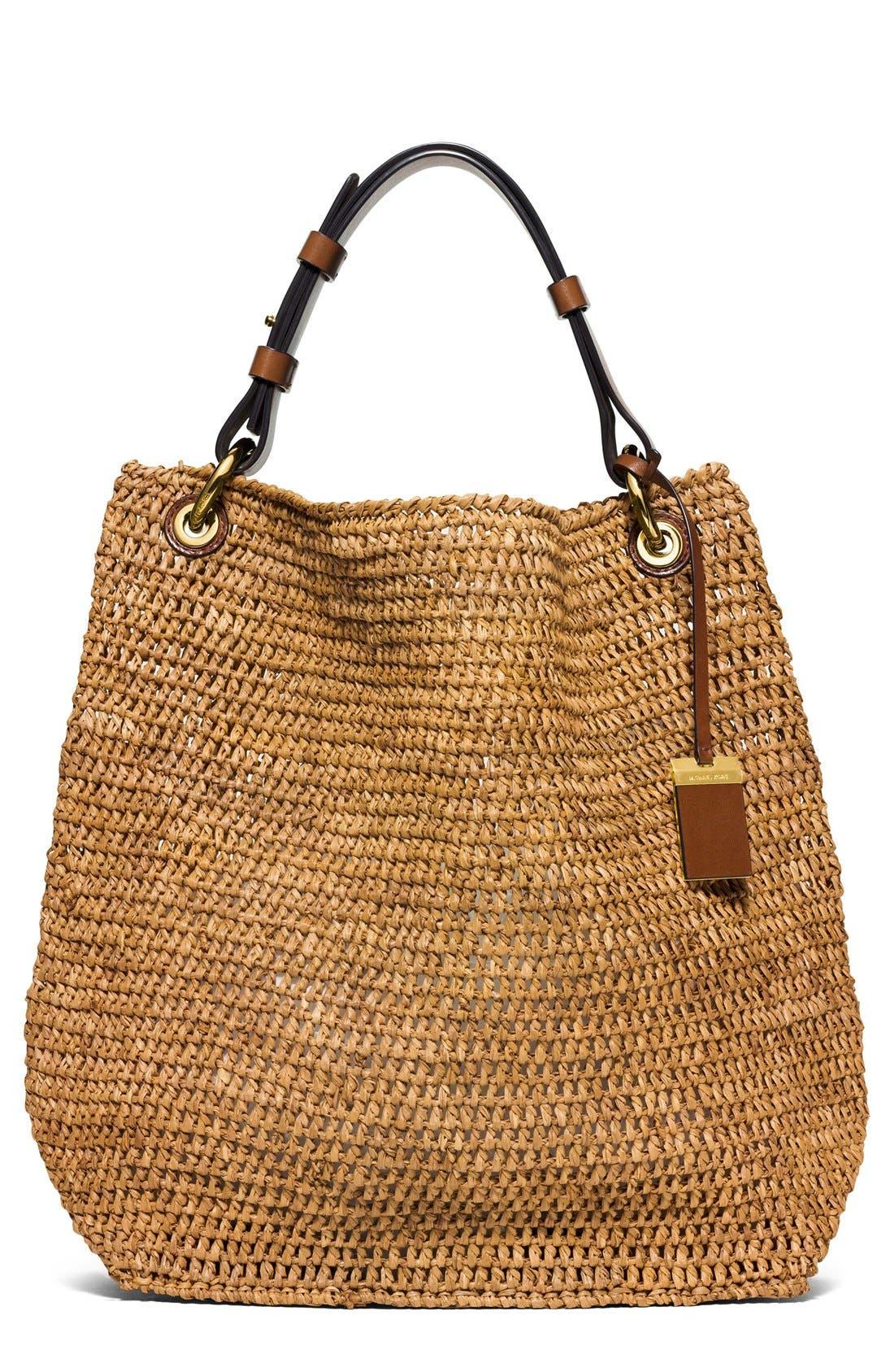 Main Image - Michael Kors 'Large Santorini' Raffia Shoulder Bag