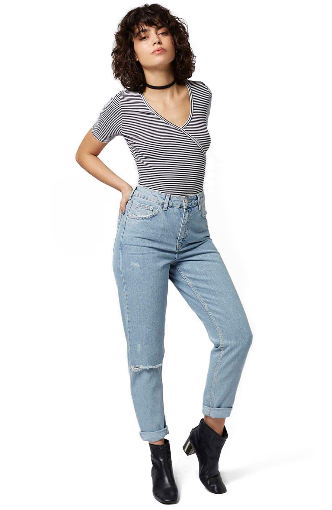 Alternate Image 2  - Topshop Stripe Surplice Jersey Bodysuit