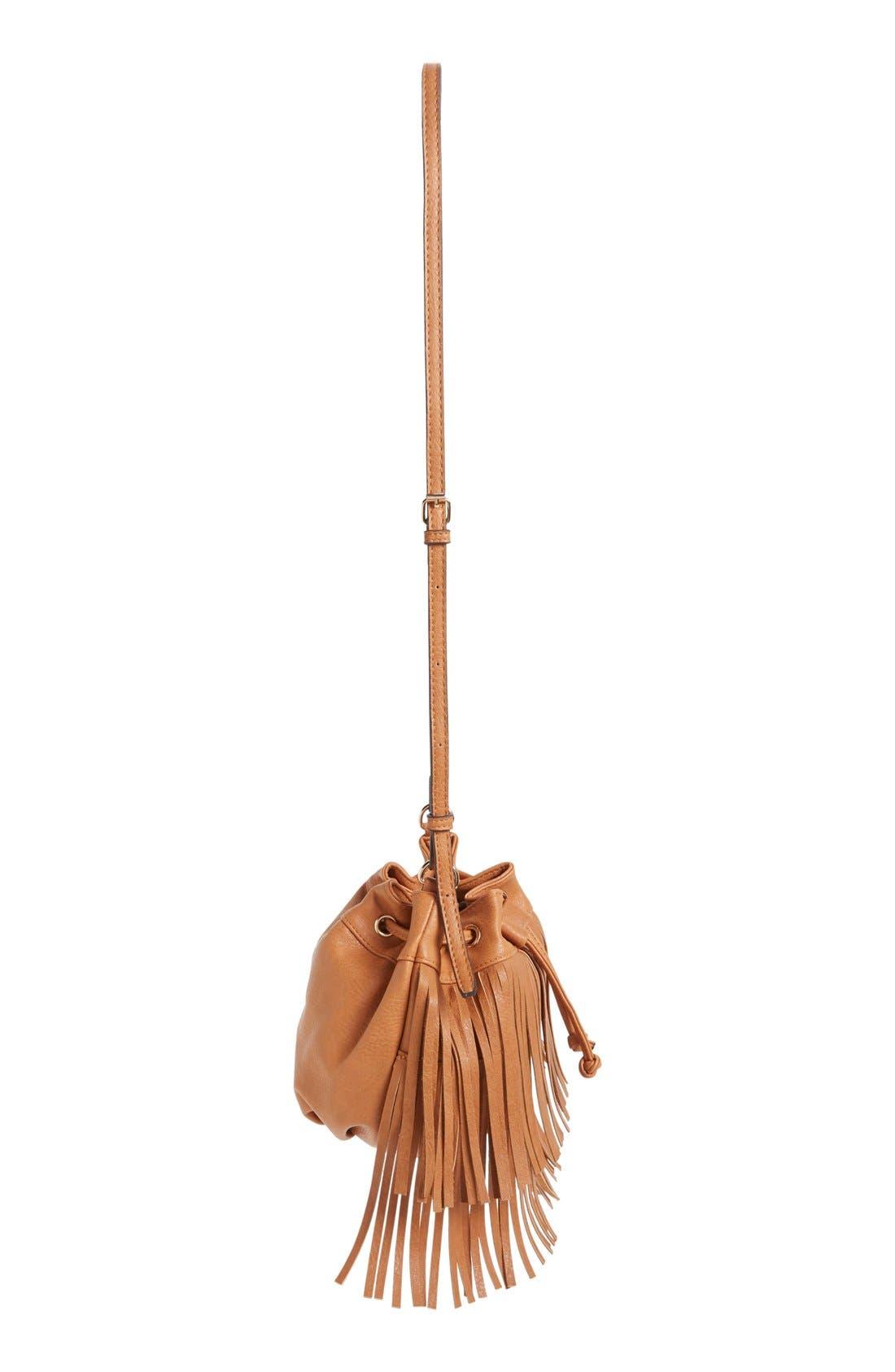 Alternate Image 5  - Sole Society Mini Fringe Faux Leather Bucket Bag