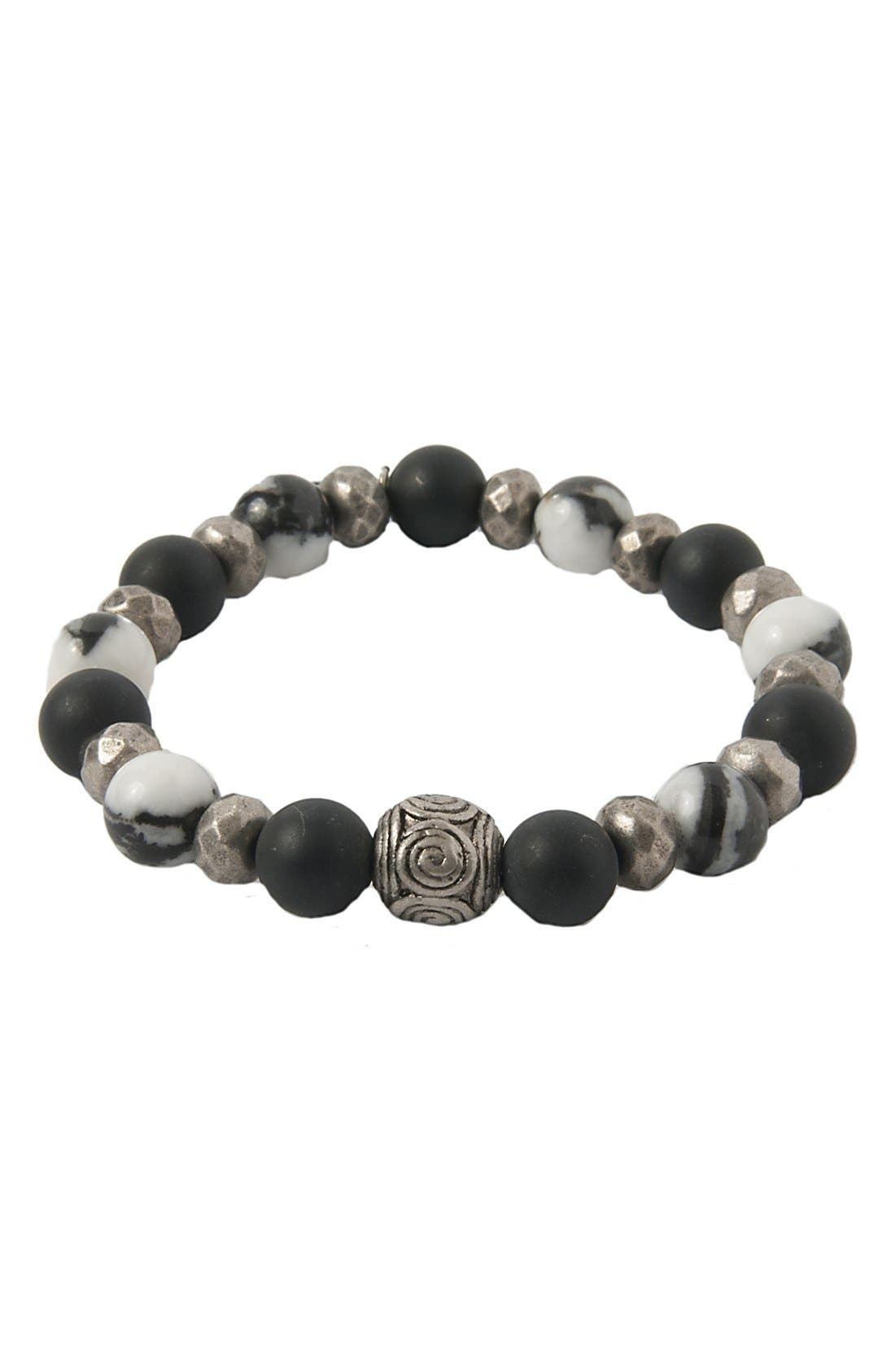 Mr. Ettika Silver & Agate Stretch Bracelet