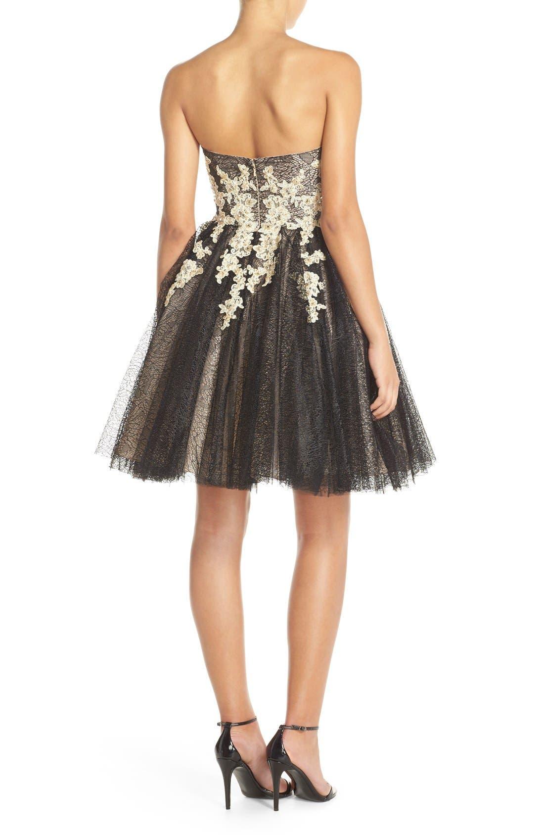Alternate Image 2  - Terani Couture Appliqué Lace Fit & Flare Dress