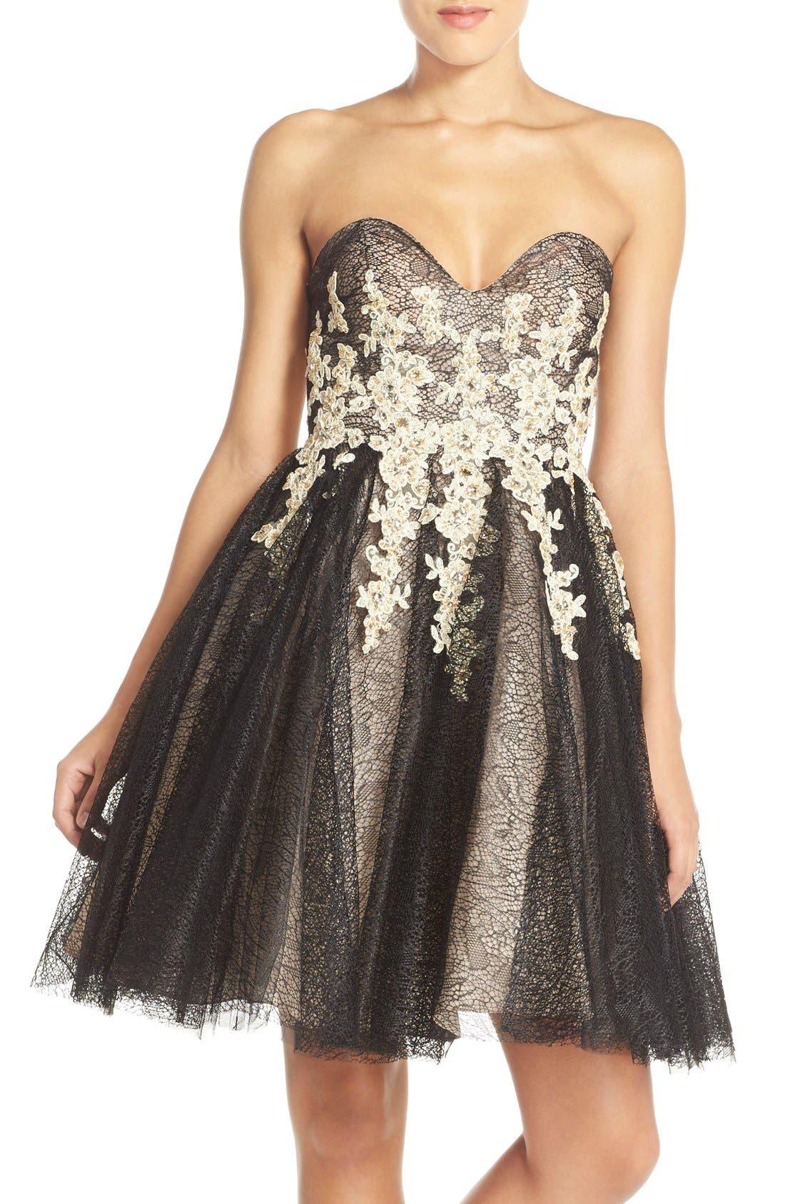 Main Image - Terani Couture Appliqué Lace Fit & Flare Dress