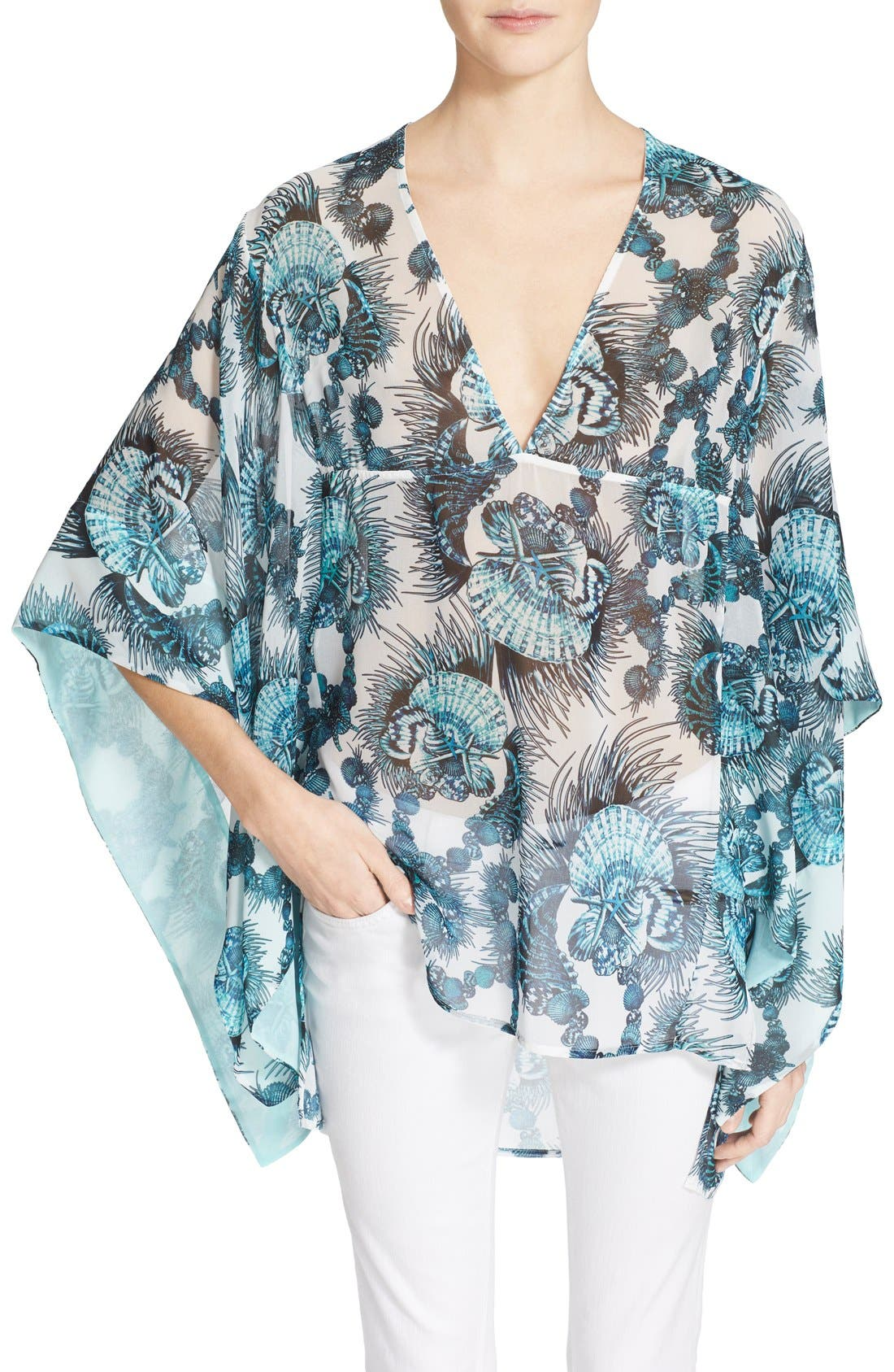 Alternate Image 1 Selected - Just Cavalli Shell Print Caftan Blouse