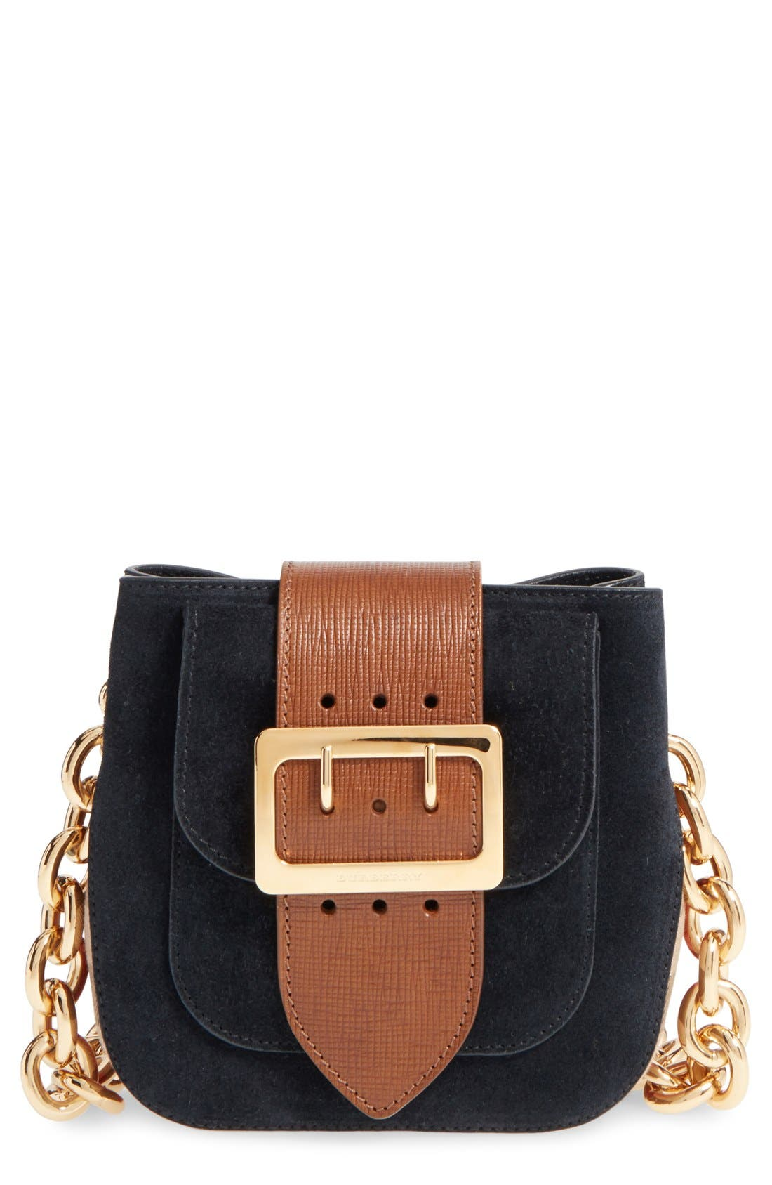 Main Image - Burberry Suede & Canvas Convertible Crossbody Bag