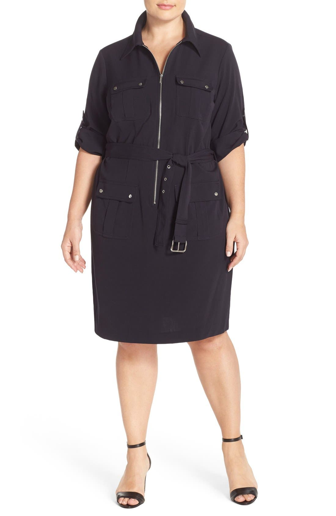 Alternate Image 4  - MICHAEL Michael Kors Belted Utility Shirtdress (Plus Size)