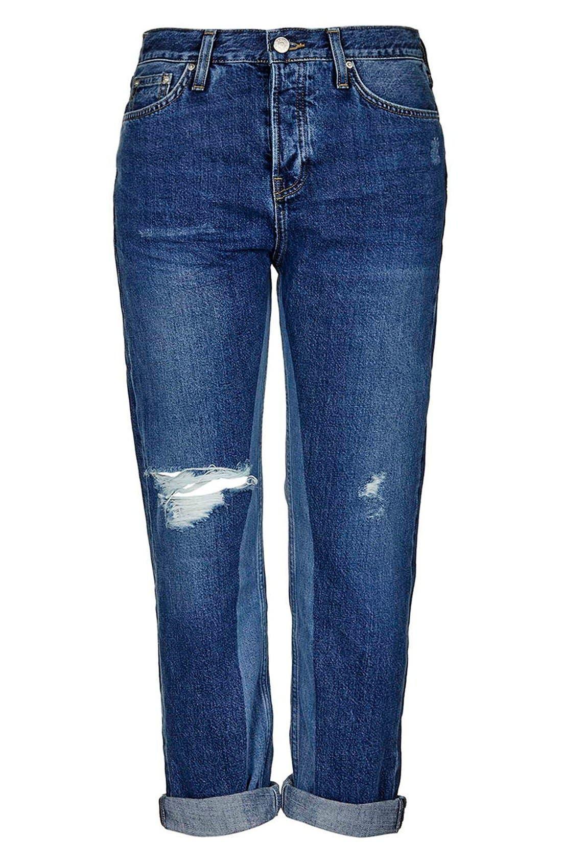 Alternate Image 5  - Topshop 'Patch' Two Tone High Rise Boyfriend Jeans