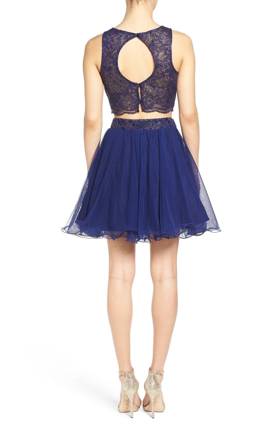 Alternate Image 2  - Secret Charm 'Gina' Metallic Lace Two-Piece Skater Dress