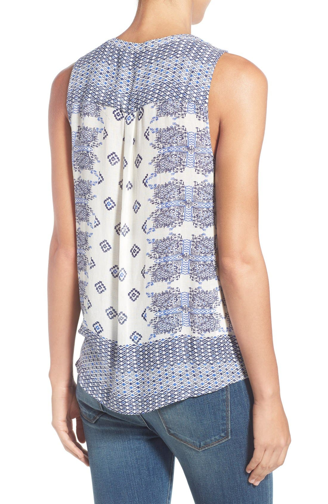 Alternate Image 2  - Lucky Brand Geo Print Sleeveless Tie Front Top