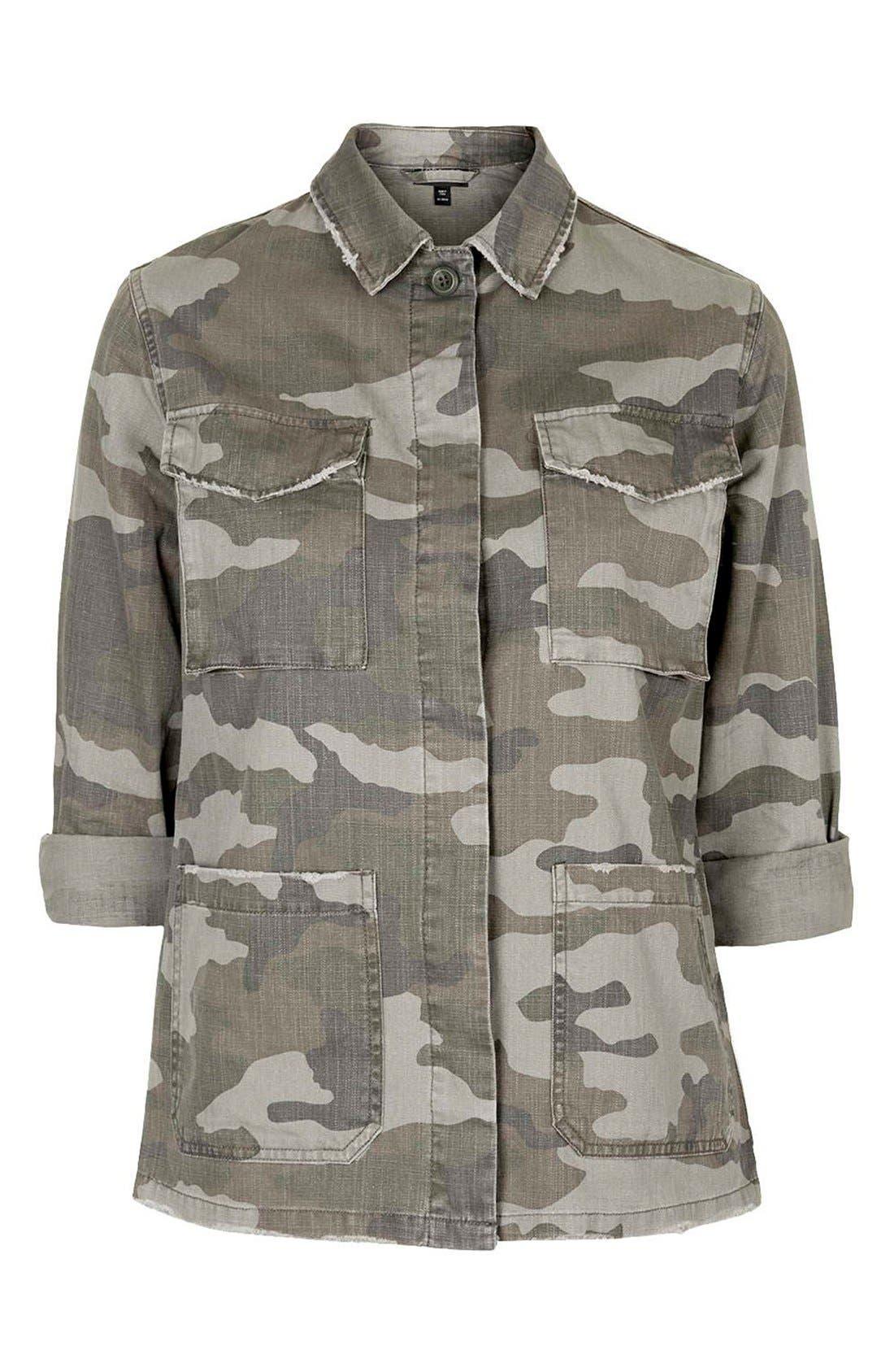 Alternate Image 5  - Topshop 'Sandy' Camo Print Shirt Jacket (Regular & Petite)