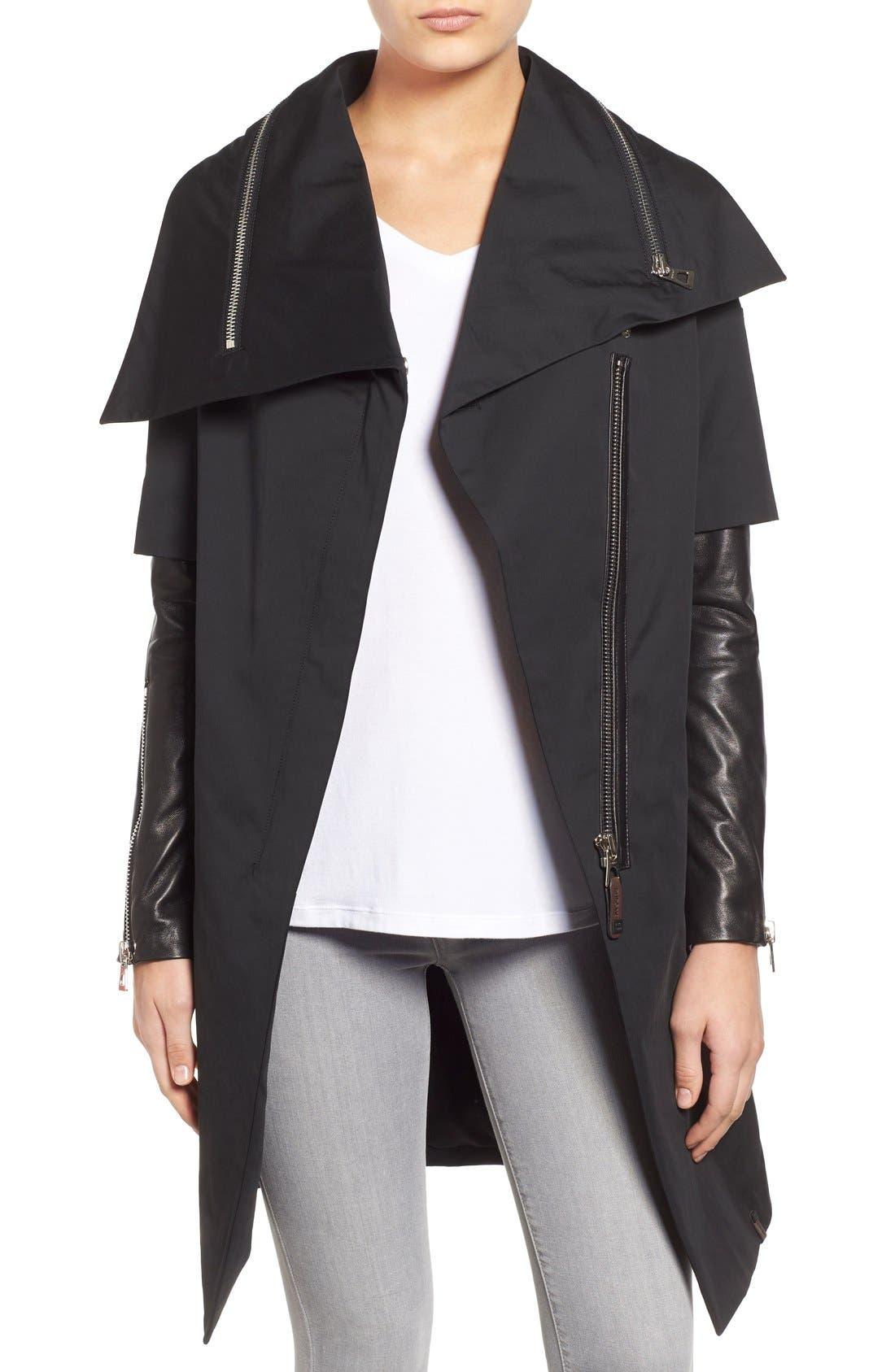 Main Image - Rudsak Asymmetrical Mixed Media Long Coat