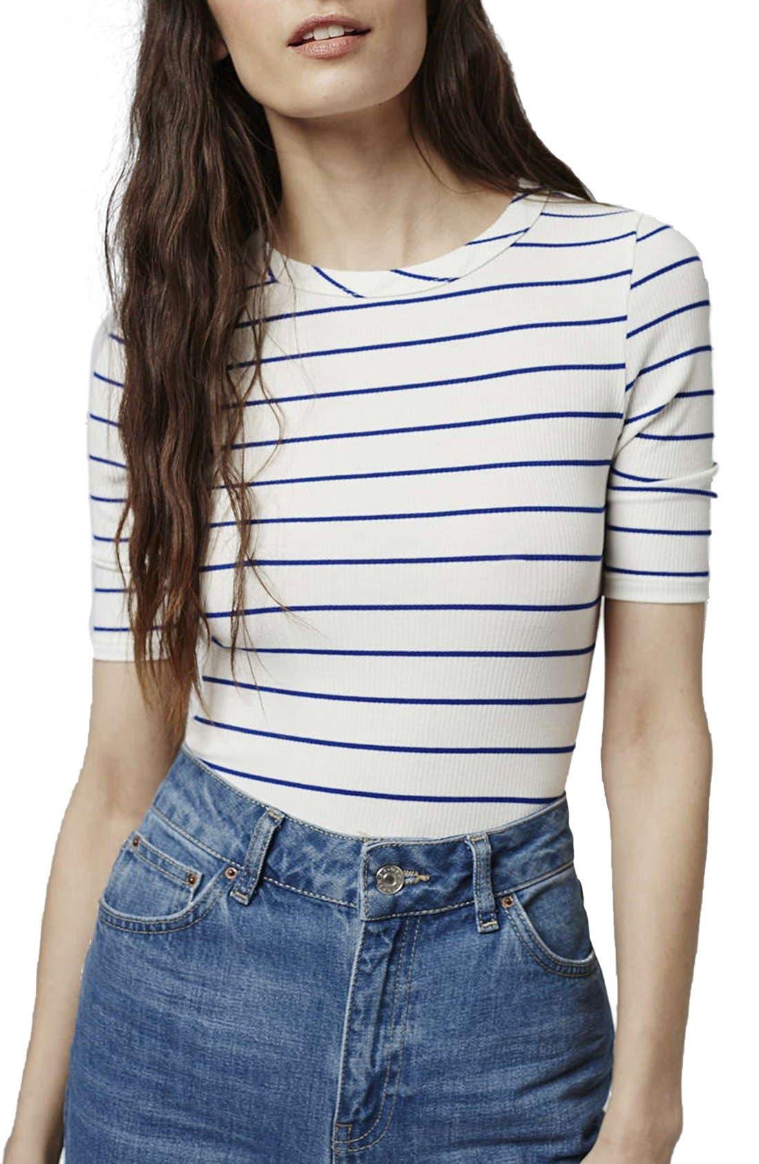 Main Image - Topshop Stripe Crewneck Bodysuit (Regular & Petite)