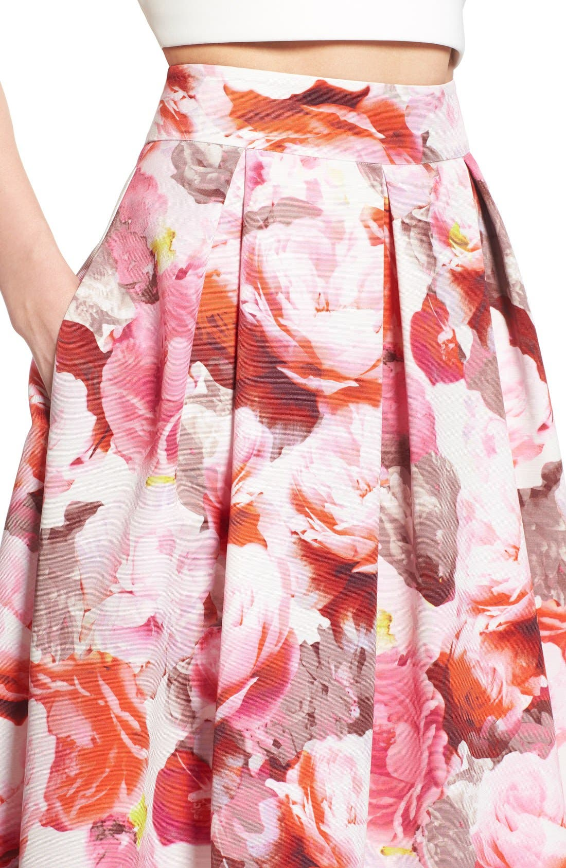 Alternate Image 3  - Eliza J Floral Print Pleated Midi Skirt