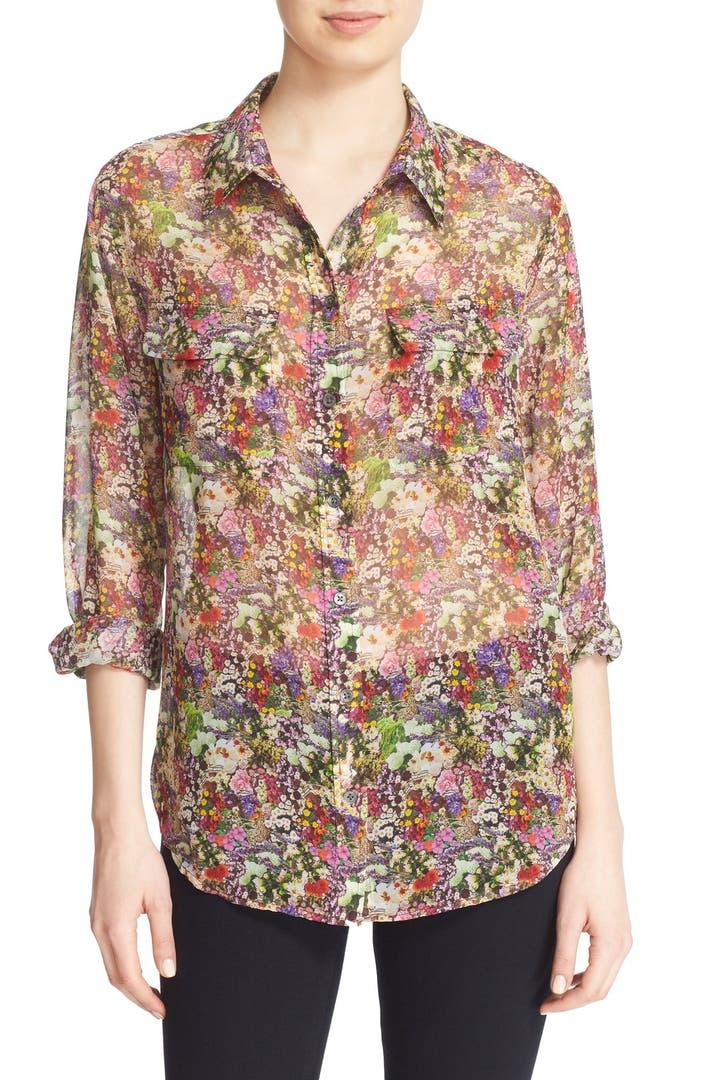Equipment 39 signature 39 floral print silk shirt nordstrom for Equipment signature silk shirt