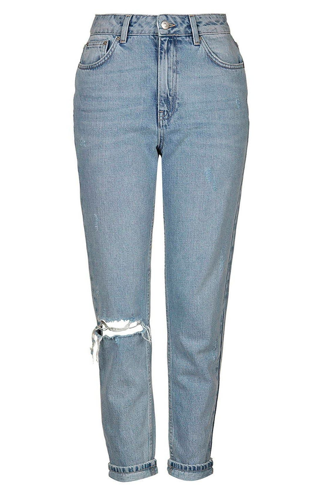 Alternate Image 4  - Topshop Ripped High Rise Mom Jeans (Tall)