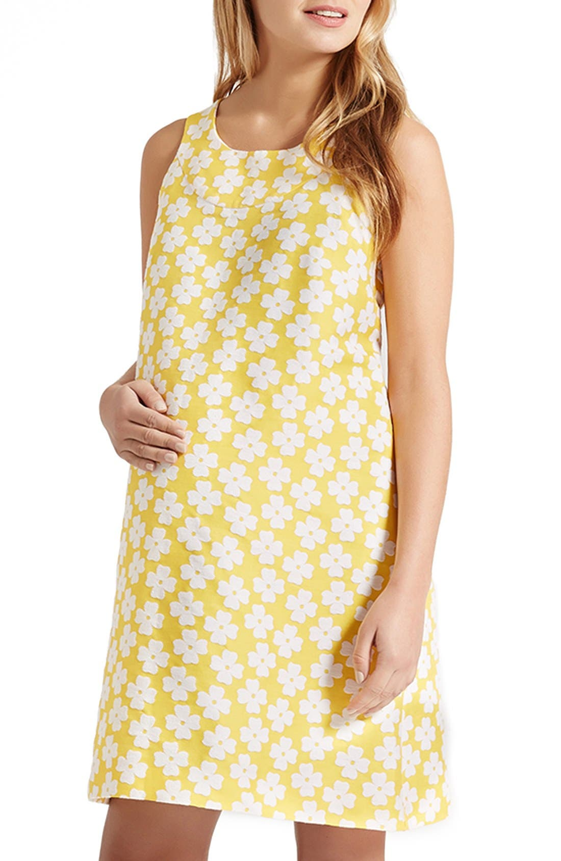 Alternate Image 1 Selected - Madderson London 'Hattie' Daisy Jacquard Maternity Shift Dress