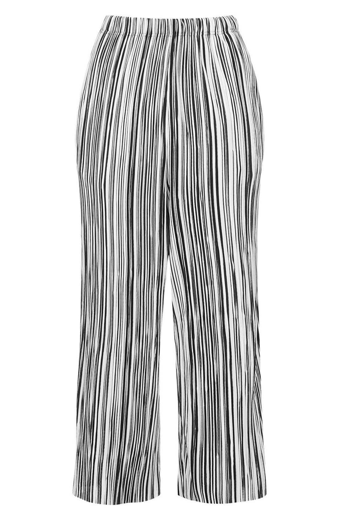 Alternate Image 4  - Topshop Pleat Stripe Crop Trousers (Petite)