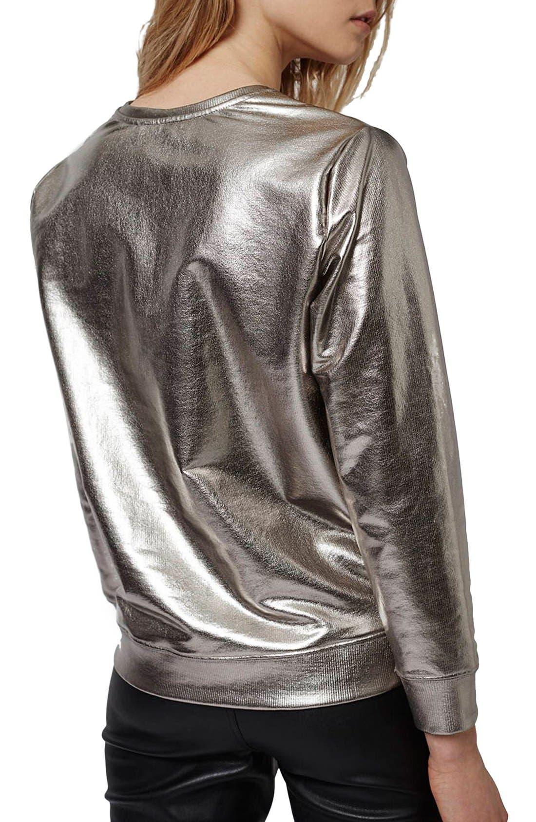 Alternate Image 3  - Topshop Foiled Crewneck Sweatshirt (Petite)
