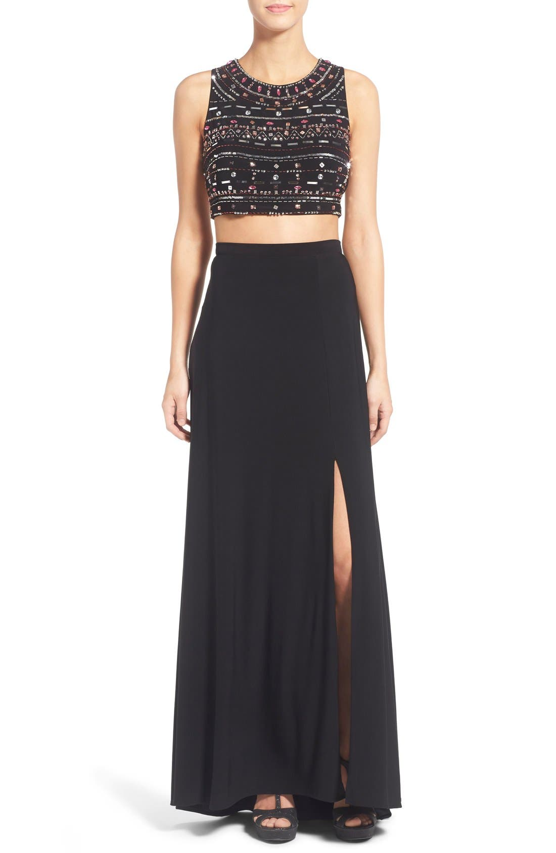 Alternate Image 1 Selected - Morgan & Co. Embellished Two-Piece Gown