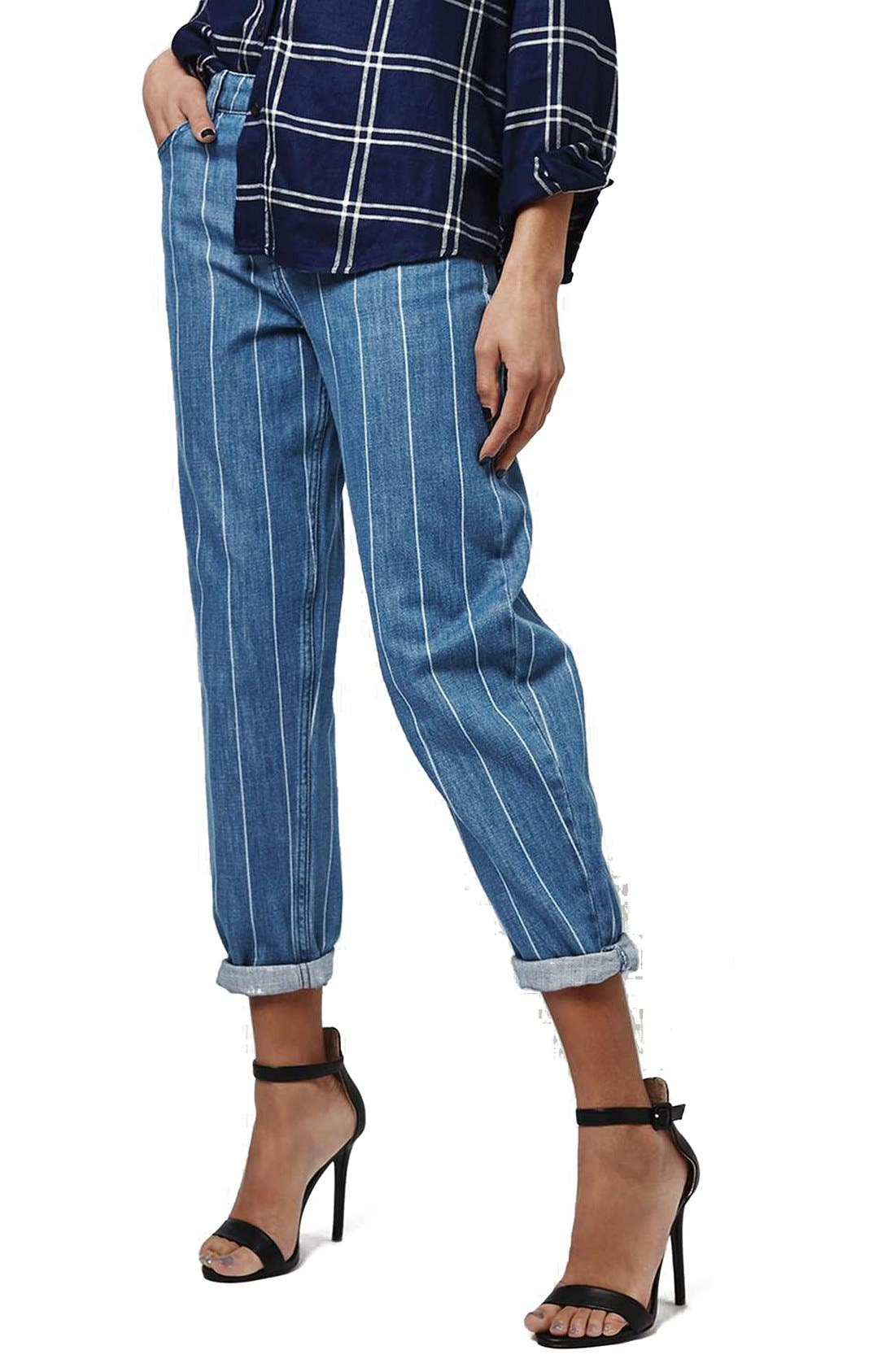 Alternate Image 1 Selected - Topshop Stripe High Rise Boyfriend Jeans