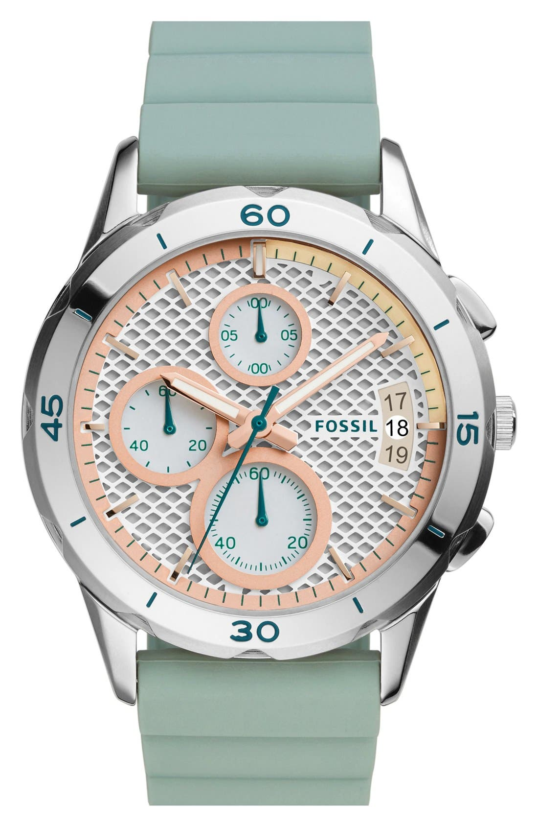 Alternate Image 1 Selected - Fossil 'Modern Pursuit' Chronograph Silicone Strap Watch, 39mm