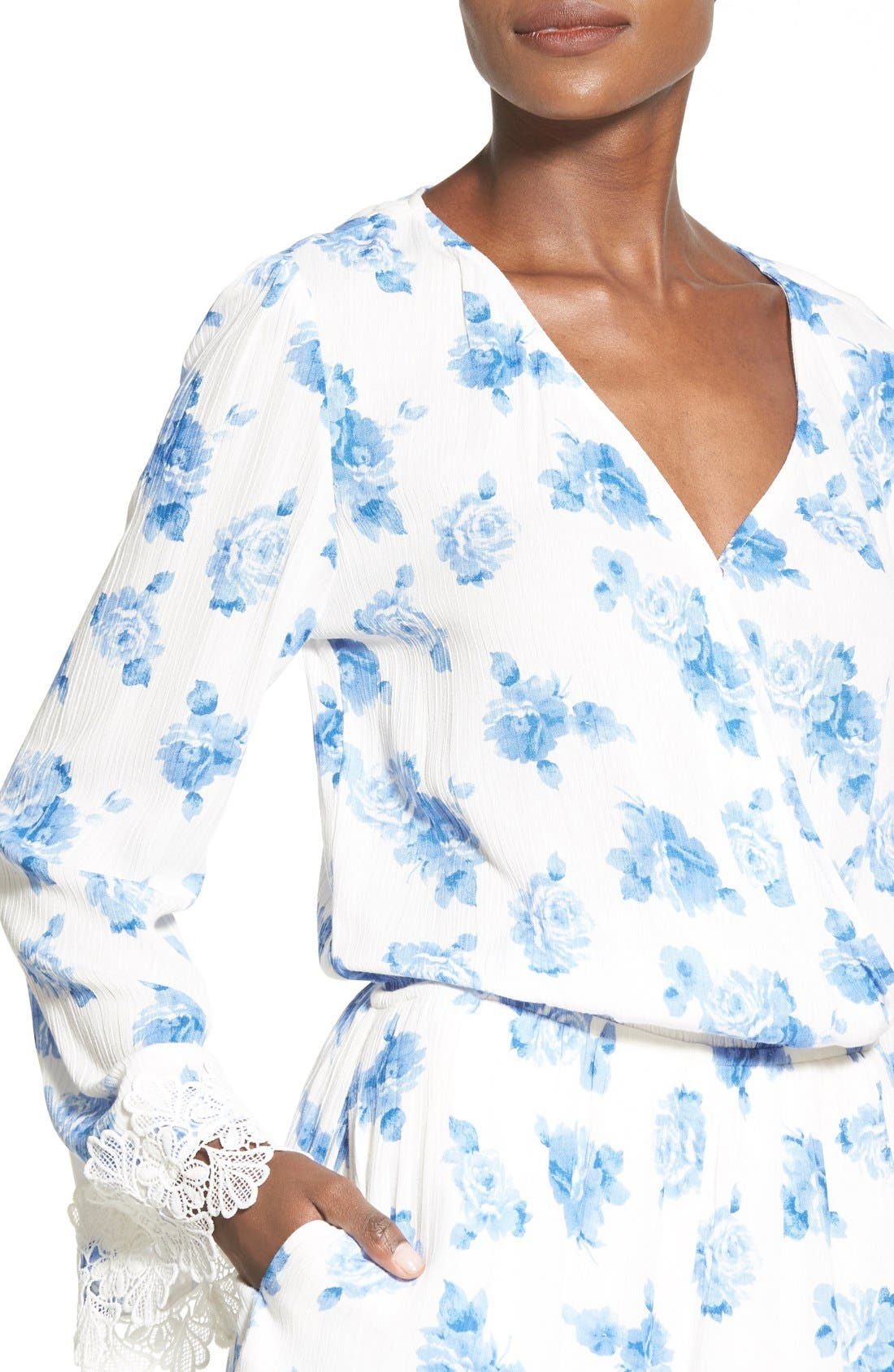 Alternate Image 4  - Mimi Chica Floral Print Bell Sleeve Romper