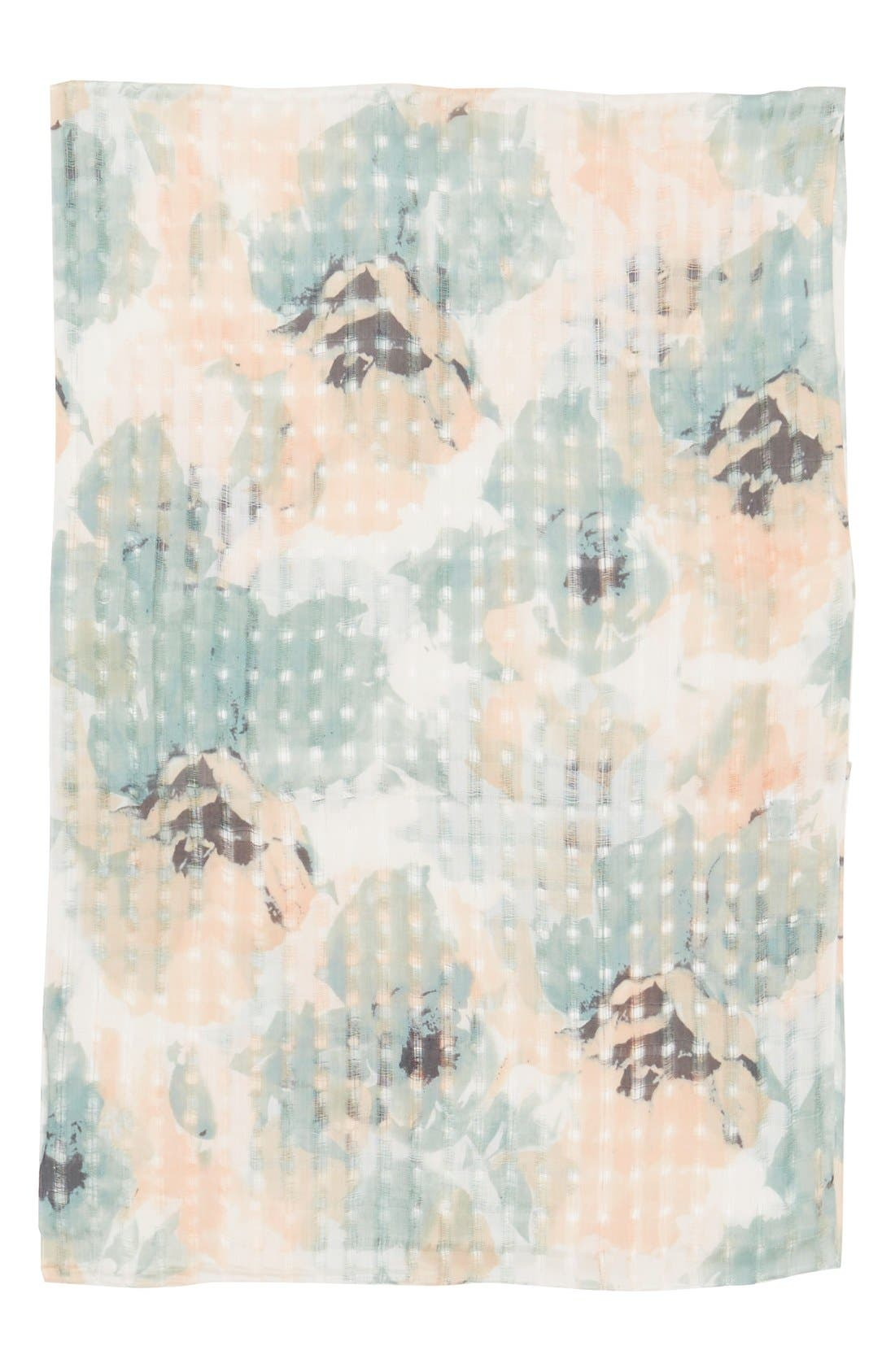 Alternate Image 2  - BP. Floral Print Open Weave Scarf