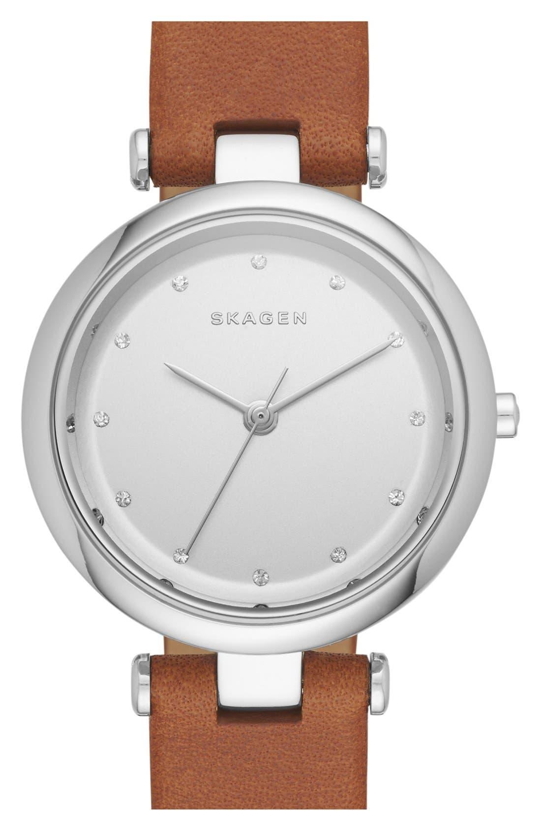 Skagen 'Tanja' Leather Strap Watch, 30mm