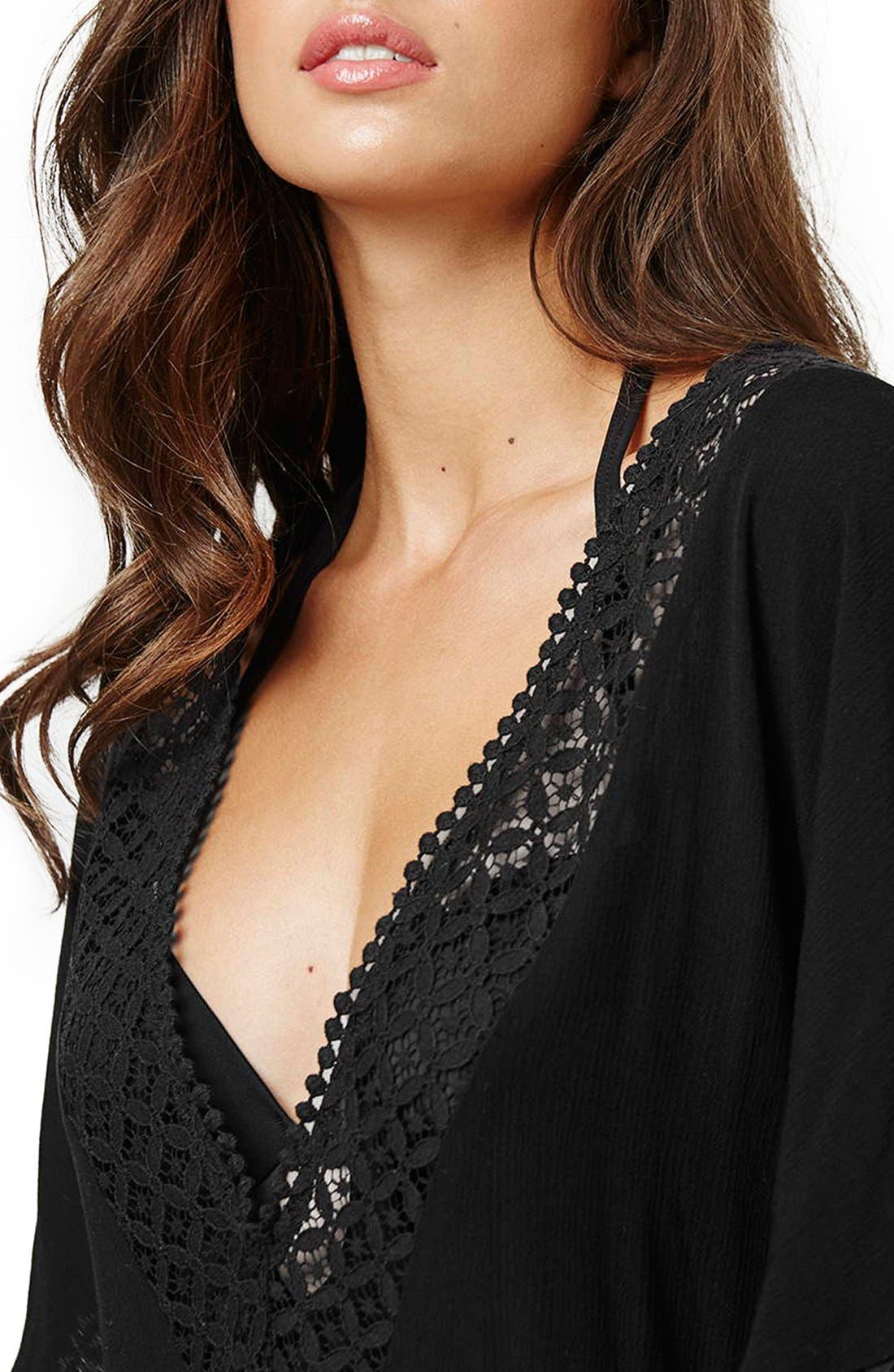 Alternate Image 5  - Topshop Double V-Neck Lace Trim Cover-Up Caftan