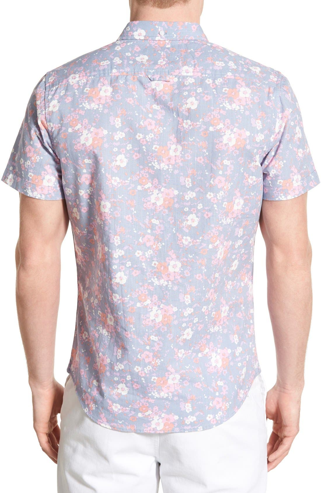 Alternate Image 2  - 1901 'Gifford' Trim Fit Short Sleeve Floral Print Chambray Shirt
