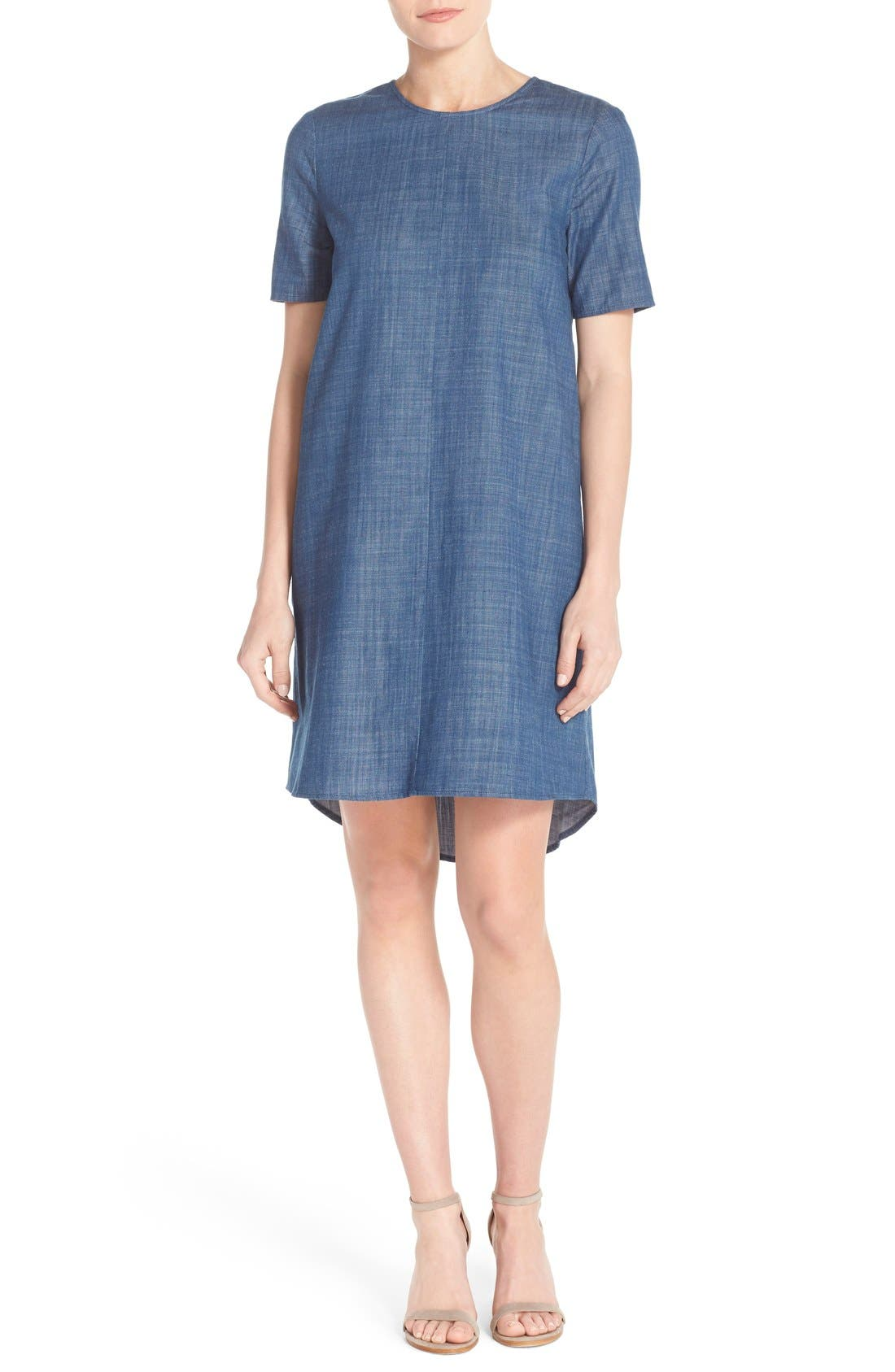 Alternate Image 1 Selected - Charles Henry Cotton Chambray Shift Dress