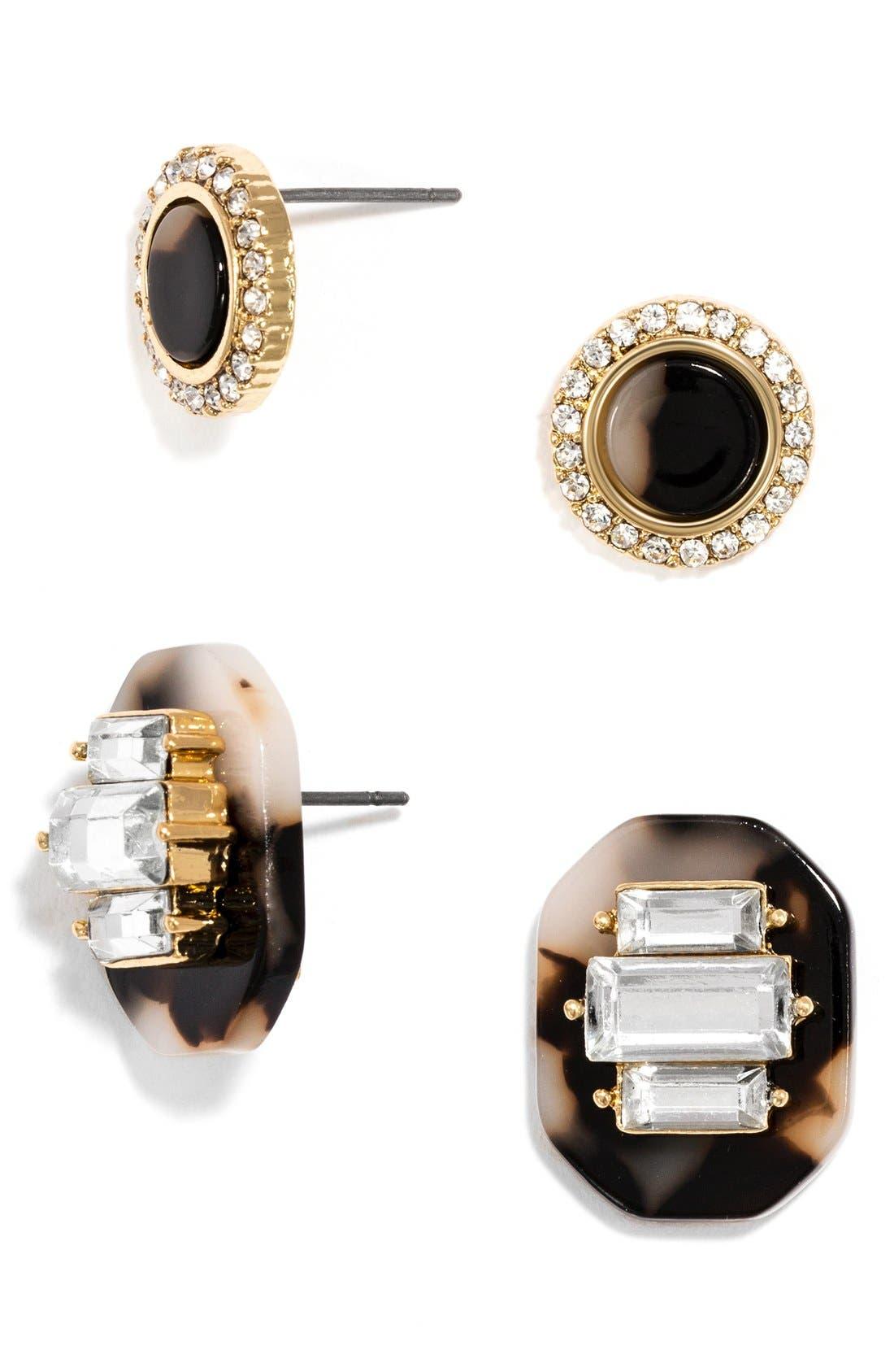 Alternate Image 1 Selected - BaubleBar 'Buchanan' Crystal & Tortoiseshell Earrings (Set of 2)