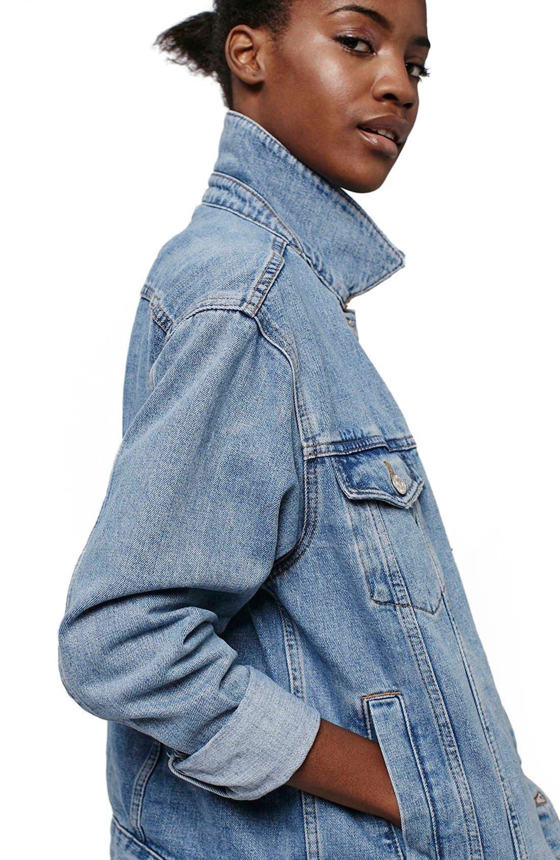 Alternate Image 4  - Topshop Oversize Denim Jacket (Regular & Petite)
