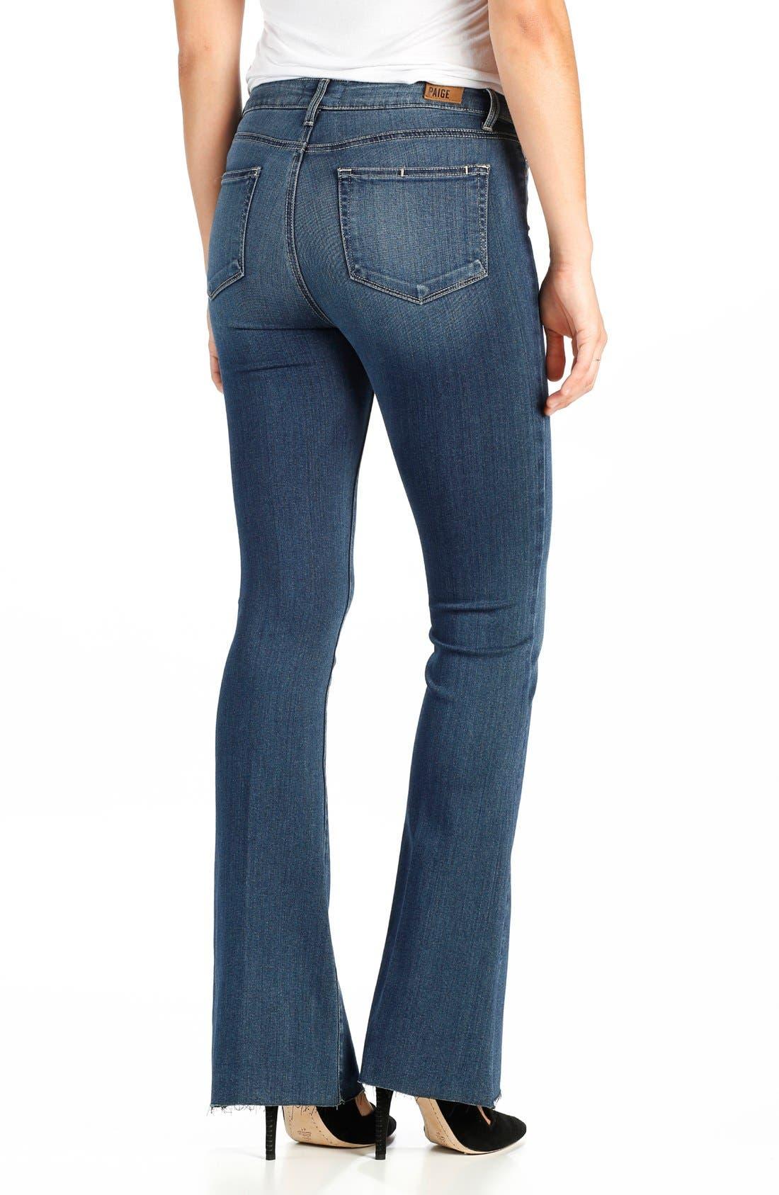 Alternate Image 2  - PAIGE Transcend - Bell Canyon High Waist Raw Hem Flare Jeans (Giona)