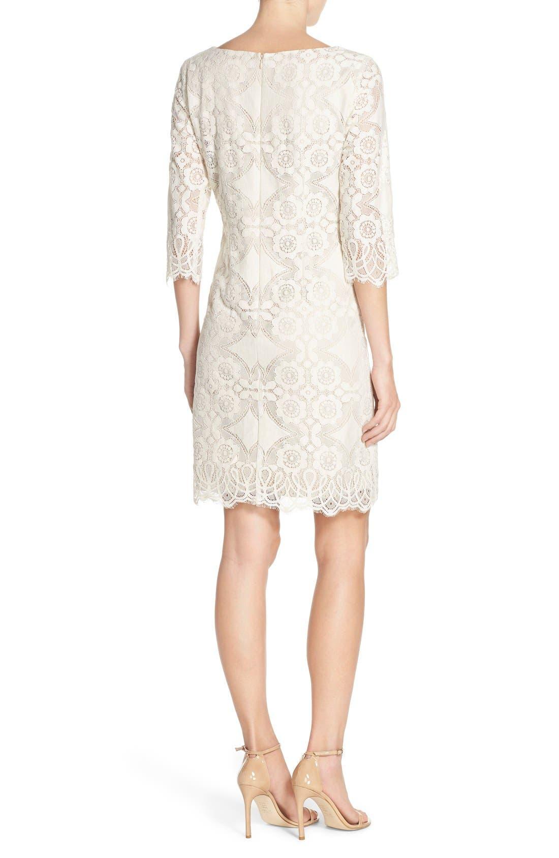 Alternate Image 2  - Eliza J Lace Shift Dress (Regular & Petite)