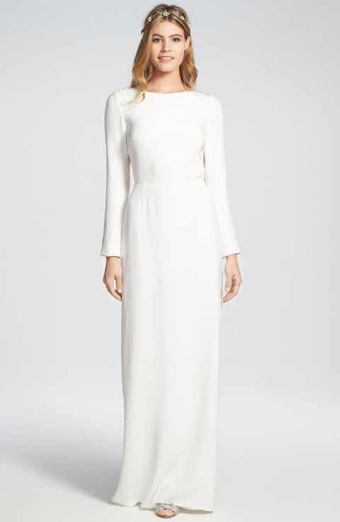 Houghton 'Cheyne' Open Back Long Sleeve Silk Column Gown
