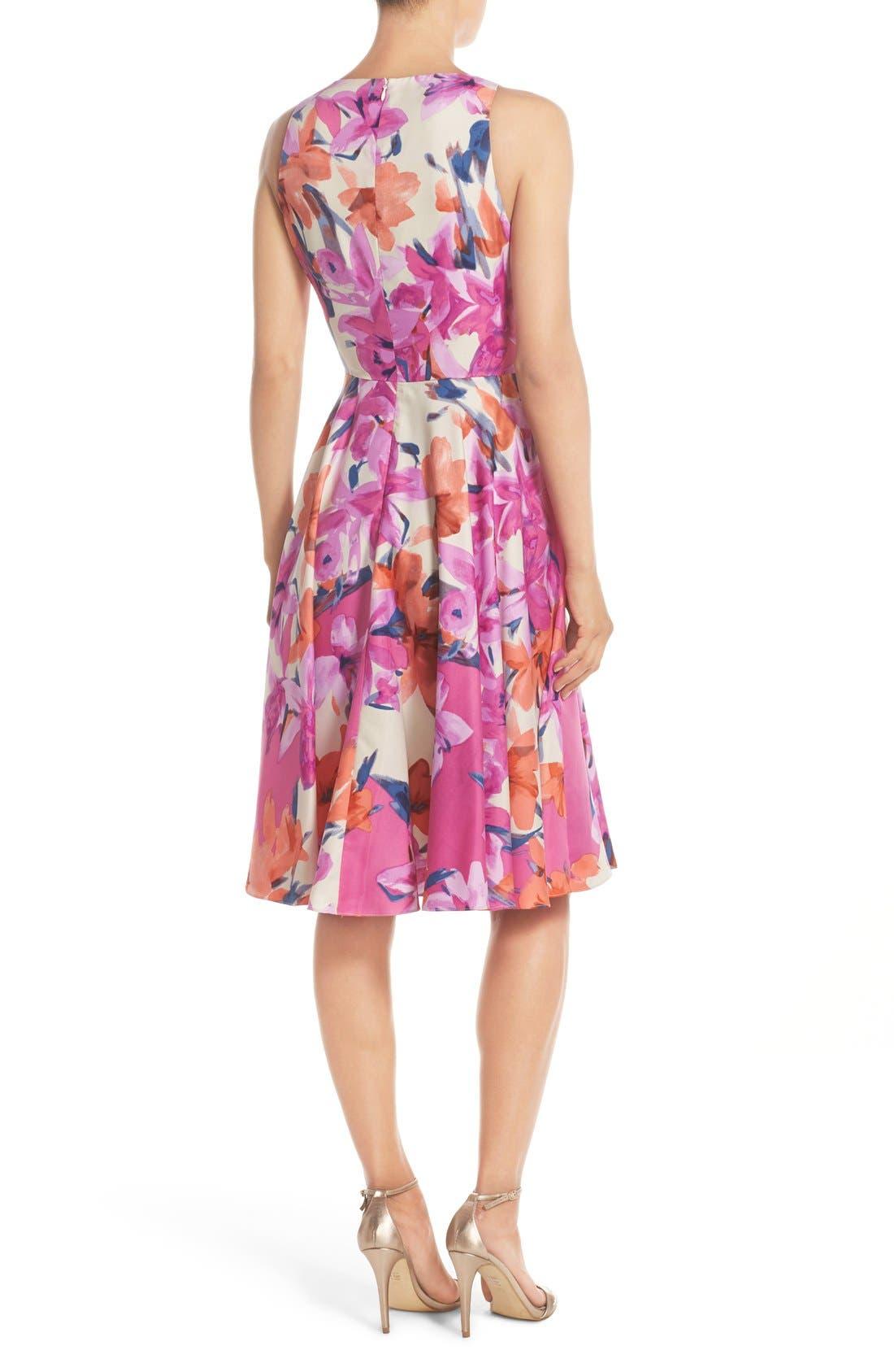 Alternate Image 2  - Donna Morgan Floral Print Woven Fit & Flare Dress