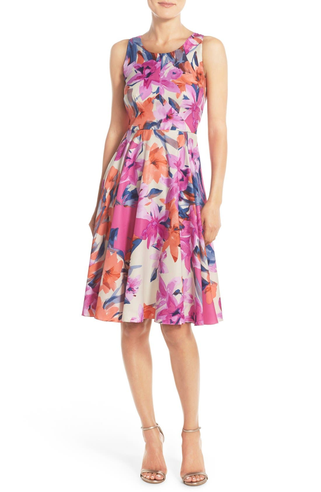 Main Image - Donna Morgan Floral Print Woven Fit & Flare Dress