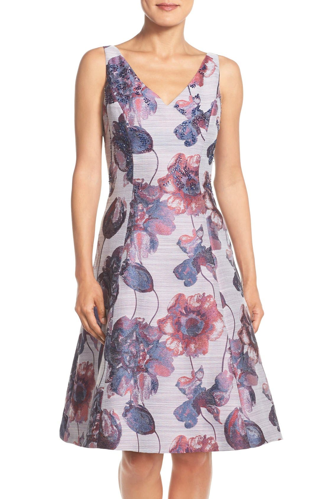 Main Image - Adrianna Papell Floral Print Fit & Flare Dress (Regular & Petite)