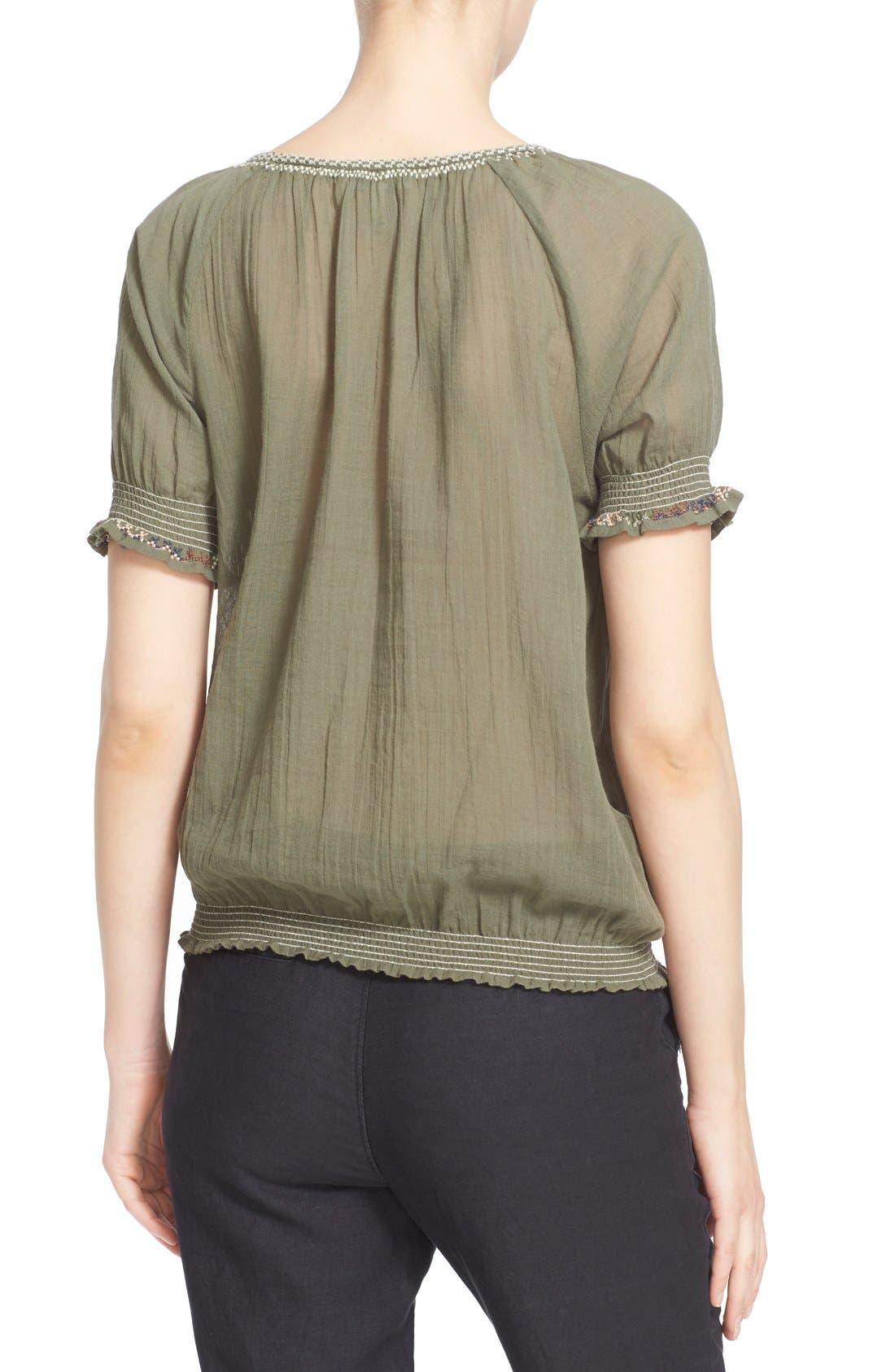 Alternate Image 2  - Joie 'Feray' Split Neck Embroidered Cotton Top