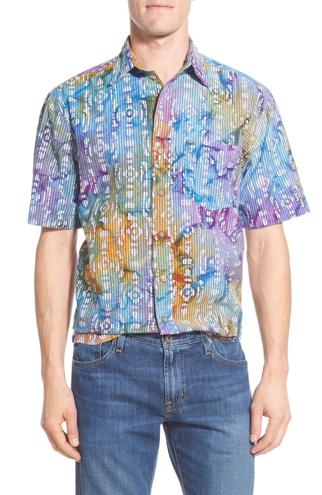 Vintage 1946 Regular Fit Short Sleeve Seersucker Batik Stripe Print Sport Shirt