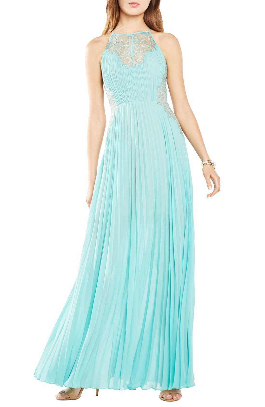 Alternate Image 1 Selected - BCBGMAXAZRIA 'Misty' Pleat Georgette Gown