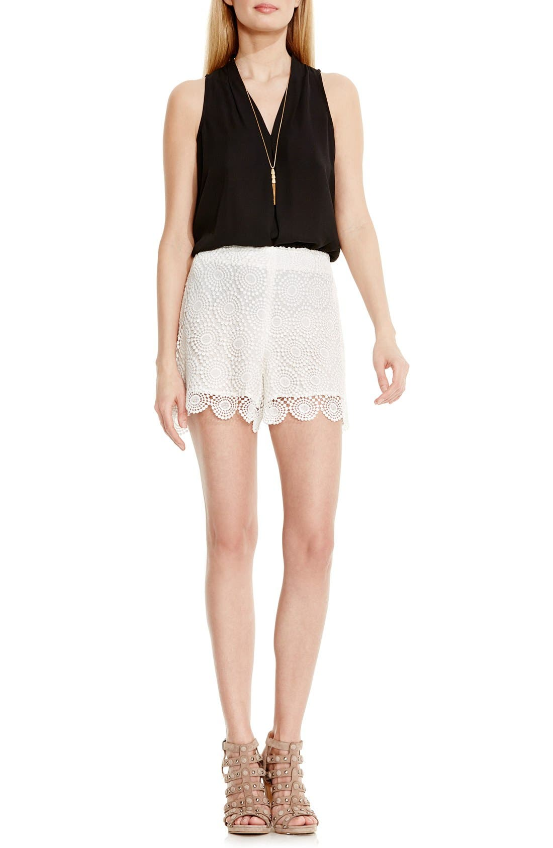 Alternate Image 2  - Vince Camuto Embroidered Lace Shorts (Regular & Petite)