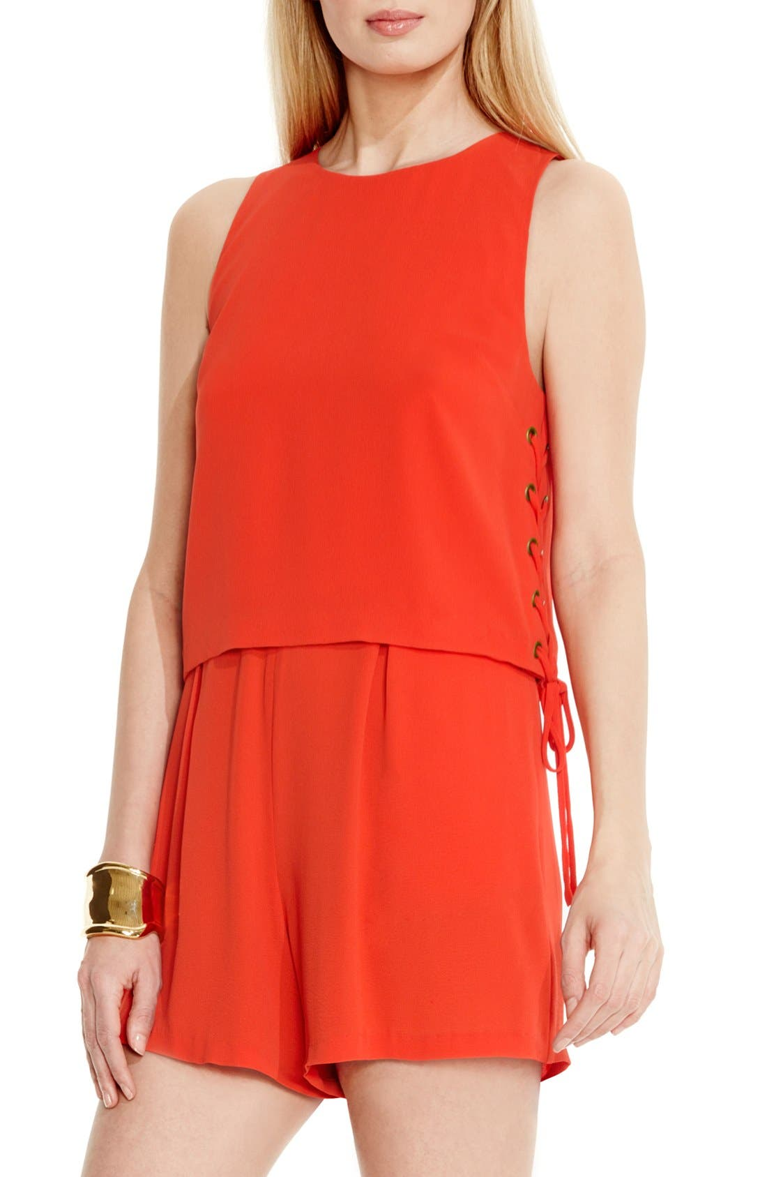 Alternate Image 1 Selected - Vince Camuto Lace-Up Detail Sleeveless Romper