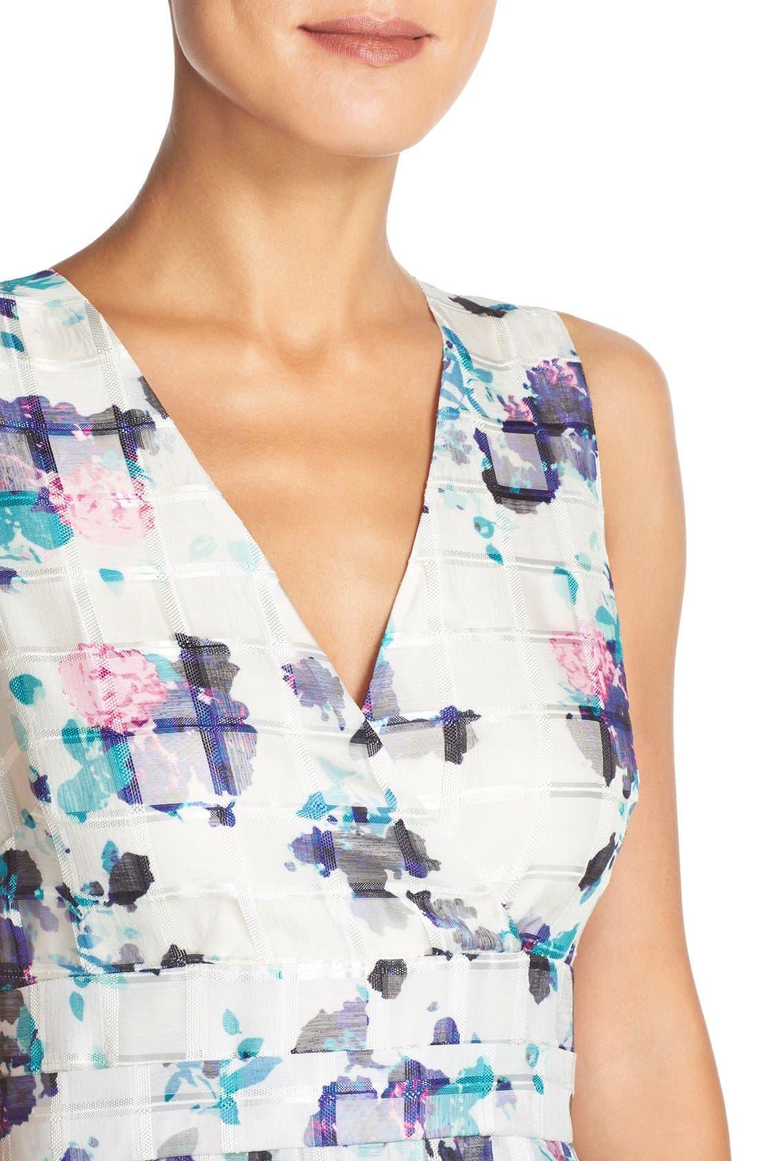 Alternate Image 4  - Ivanka Trump Floral Print Organza Midi Dress