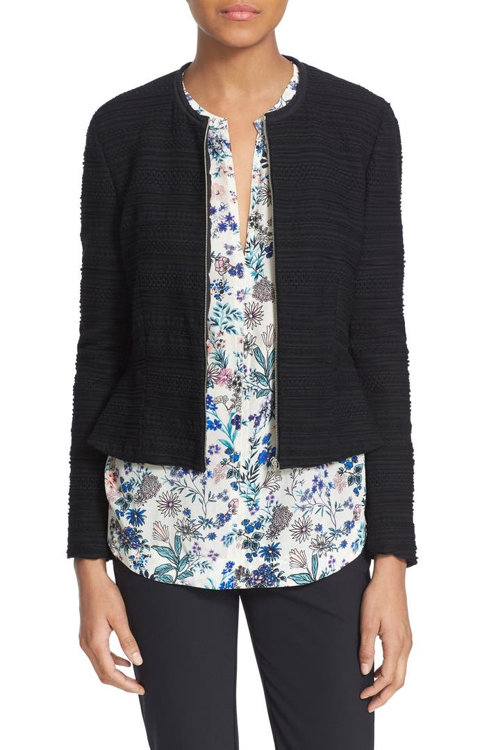 Knitting Pattern For Fitted Jacket : Rebecca Taylor Texture Knit Zip Front Fitted Jacket Nordstrom
