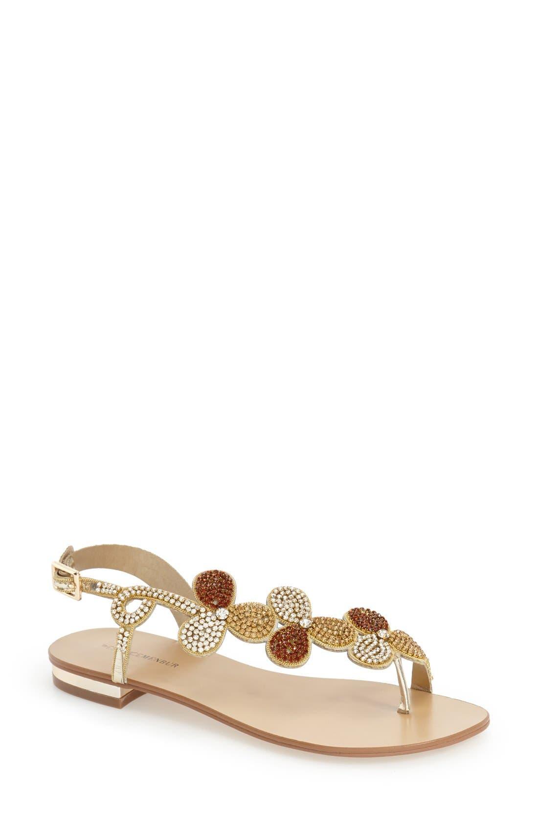 MENBUR 'Gunmiel' Crystal Embellished Flat Sandal