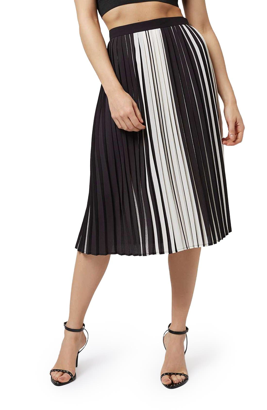 topshop stripe pleat midi skirt nordstrom